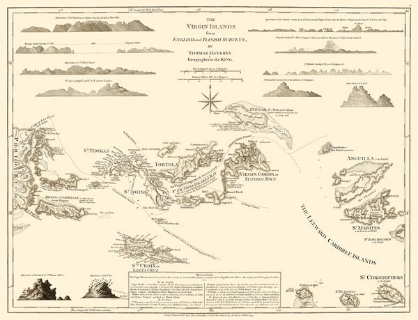 Virgin Islands Danish West Indies US and British map 1775 by Jefferys