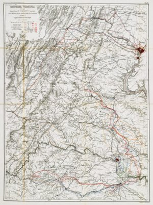 Central Virginia 1864,1865 shows Grant's campaign and marches Civil War Map by Bowen