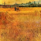 Arles View from the Wheat Fields men working landscape canvas art print by Vincent van Gogh