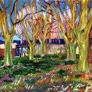 Avenue of Plane Trees near Arles Station landscape canvas art print by Vincent van Gogh