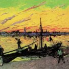 Coal Barges people water boat landscape canvas art print by Vincent van Gogh