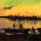 Coal Barges II people water boat landscape canvas art print by Vincent van Gogh