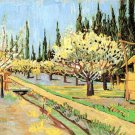Orchard in Blossom Bordered by Cypresses landscape canvas art print by Vincent van Gogh