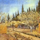 Orchard in Blossom Bordered by Cypresses II landscape canvas art print by Vincent van Gogh
