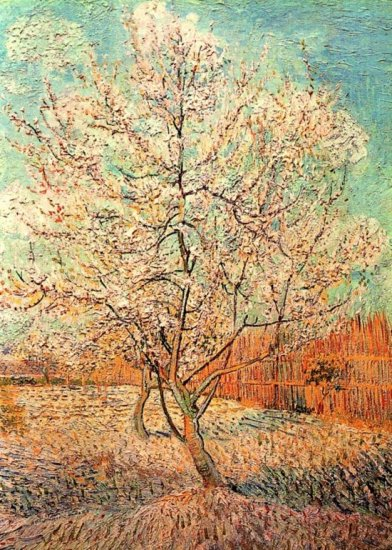 Peach Tree in Blossom landscape canvas art print by Vincent van Gogh
