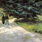 Public Garden with Couple and Blue Fir Tree The Poets Garden III canvas print by Vincent van Gogh