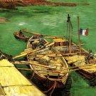Quay with Men Unloading Sand Barges boats water landscape canvas art print by Vincent van Gogh
