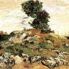 Rocks with Oak Tree landscape canvas art print by Vincent van Gogh