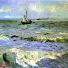 Seascape at Saintes Maries boats canvas art print by Vincent van Gogh