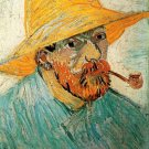 Self Portrait with Pipe and Straw Hat man canvas art print by Vincent van Gogh