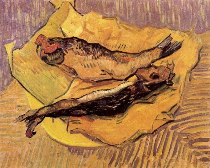 Still Life Bloaters on Piece Yellow Paper canvas art print by van Gogh