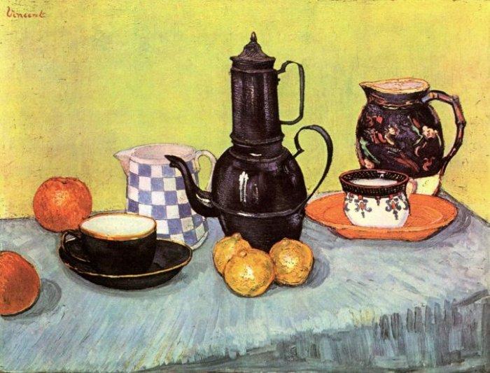 Still Life Blue Enamel Coffeepot Fruit canvas art print by van Gogh
