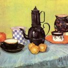 Still Life Blue Enamel Coffeepot Fruit canvas art print by van Gogh