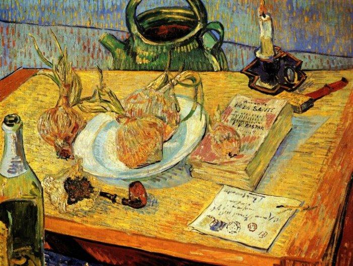 Still Life Drawing Board Pipe Onions canvas art print Vincent van Gogh