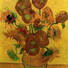 Still Life Vase with Fifteen Sunflowers canvas art print by van Gogh