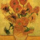 Still Life Vase with Fifteen Sunflowers II canvas art print van Gogh