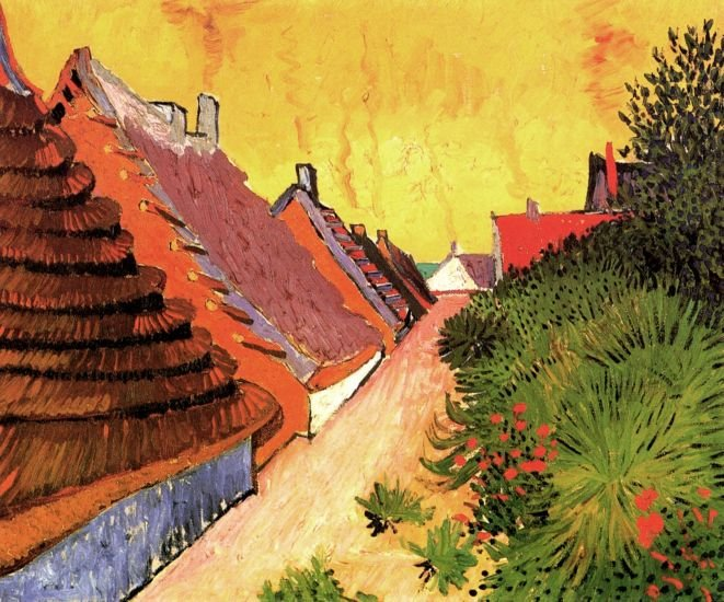 Street in Saintes Maries cityscape canvas art print by Vincent van Gogh