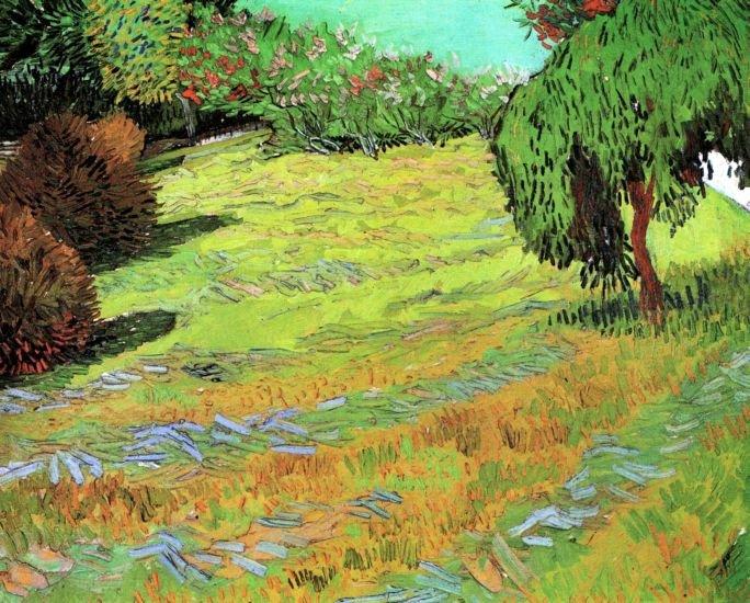 Sunny Lawn in a Public Park landscape canvas art print by Vincent van Gogh
