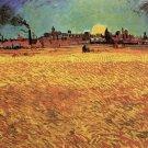 Sunset Wheat Fields Near Arles landscape canvas art print by Vincent van Gogh