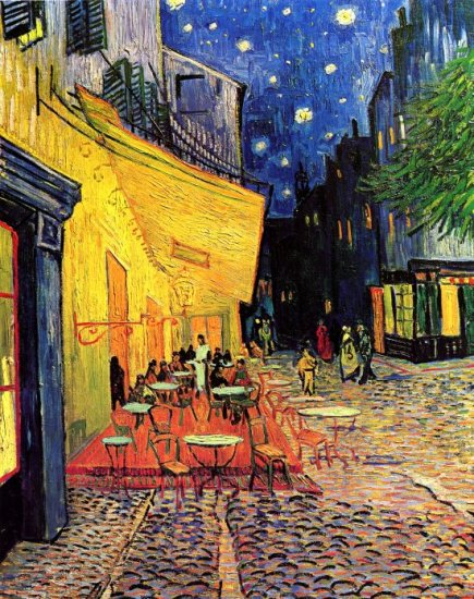 The Cafe Terrace on the Place du Forum Arles at Night cityscape canvas art print by Vincent van Gogh