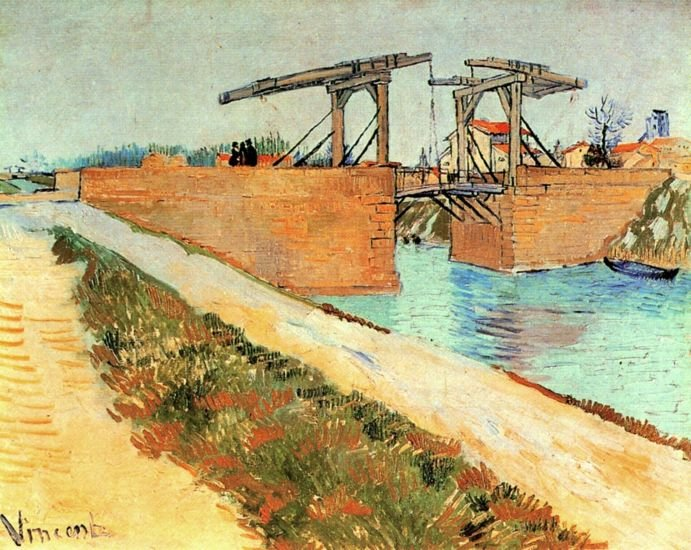 The Langlois Bridge at Arles with Road Alongside the Canal landscape canvas art print by van Gogh