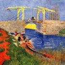 The Langlois Bridge at Arles with Women Washing water landscape canvas art print by Vincent van Gogh