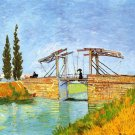 The Langlois Bridge at Arles II water landscape canvas art print by Vincent van Gogh