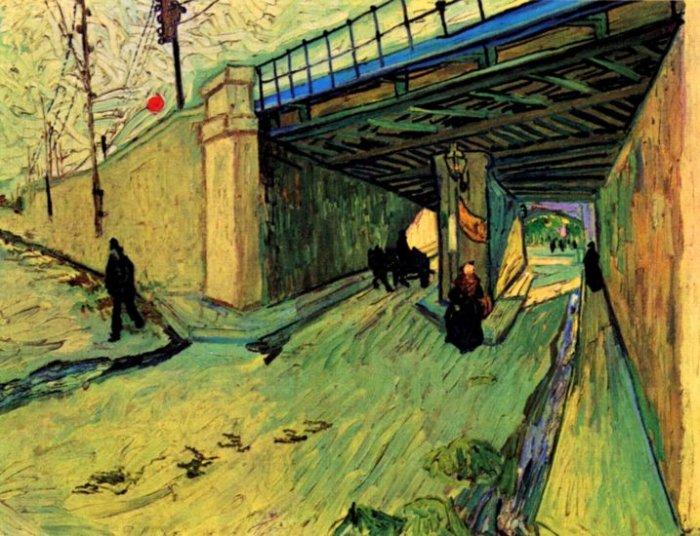 The Railway Bridge over Avenue Montmajour Arles landscape canvas art print by Vincent van Gogh