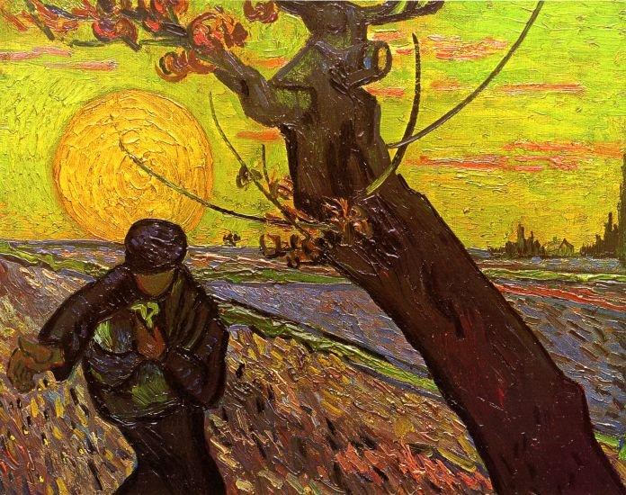 The Sower II man landscape canvas art print by Vincent van Gogh