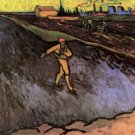 The Sower Outskirts of Arles in the Background man landscape canvas art print by Vincent van Gogh