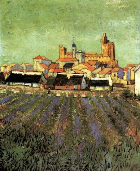 View of Saintes Maries cityscape canvas art print by Vincent van Gogh