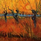 Willows at Sunset landscape canvas art print by van Gogh