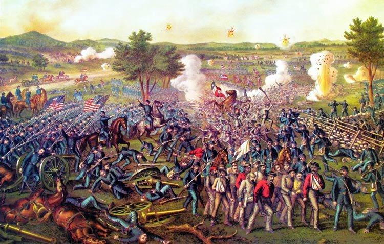 Battle of Gettysburg 1863 Civil War canvas art print by Kurz and Allison