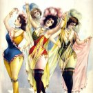 Women Wearing Brief Costumes Burlesque Art Poster print by Courier