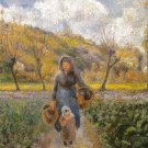 In the Vegetable Garden park woman canvas art print Camille Pissarro