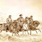 Lee, Jackson, Stuart on horseback Civil War canvas art print Buroughs