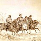 Lee, Jackson, Stuart on horseback Civil War canvas art print Buroughs