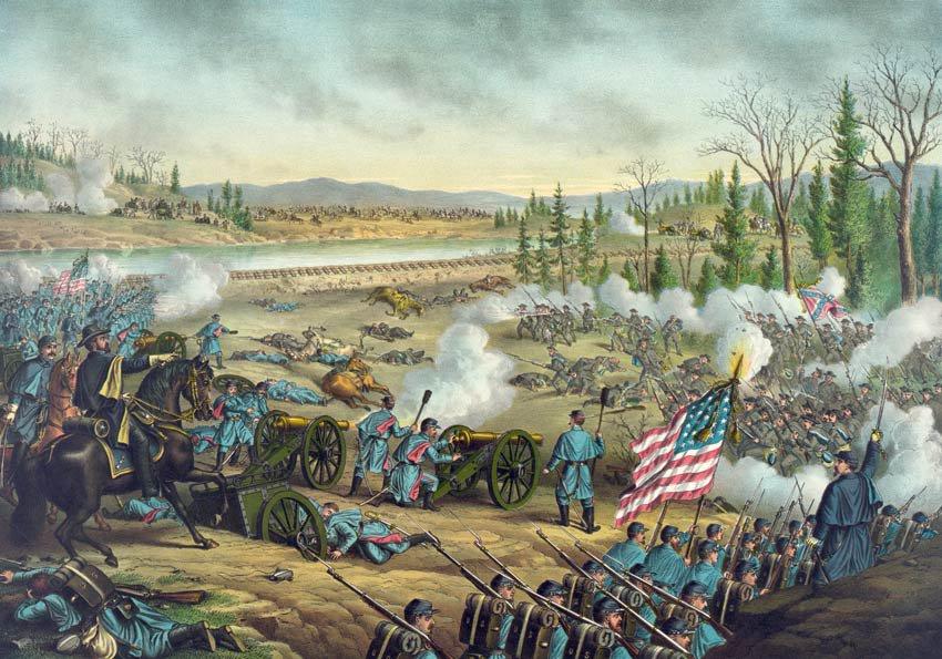 Stones River Battle 1862 Civil War canvas art print Kurz & Allison