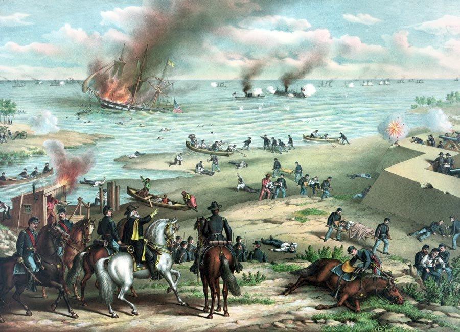 Naval Battle Monitor Merrimack Civil War canvas art print Kurz Allison