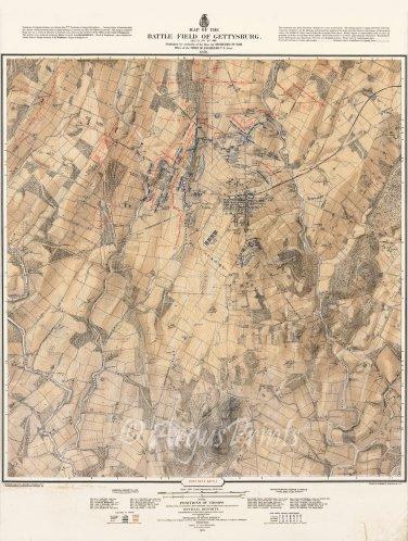 Gettysburg Battle Map 1st Day July 1 Civil War Canvas Print Bachelder