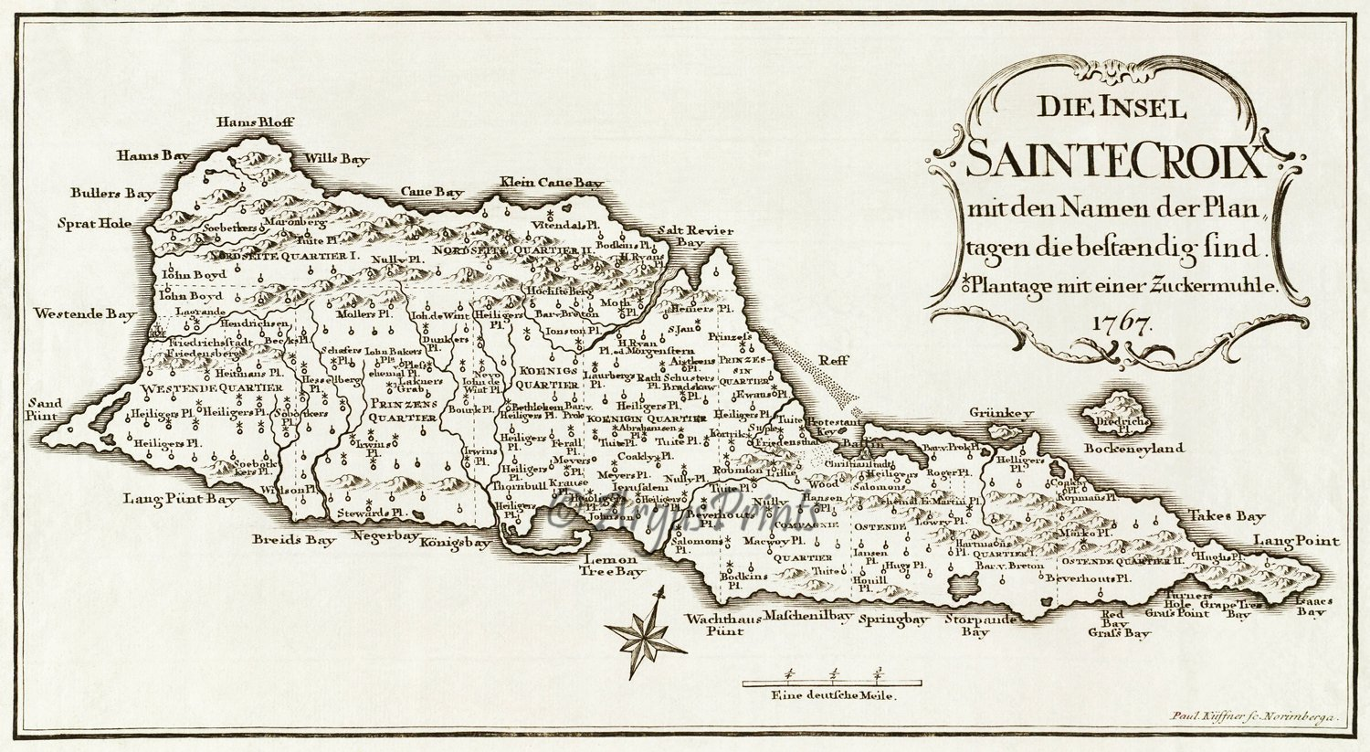 St croix danish west indies us virgin islands 1767 plantation st croix danish west indies us virgin islands 1767 plantation caribbean map by paul kussner sciox Image collections