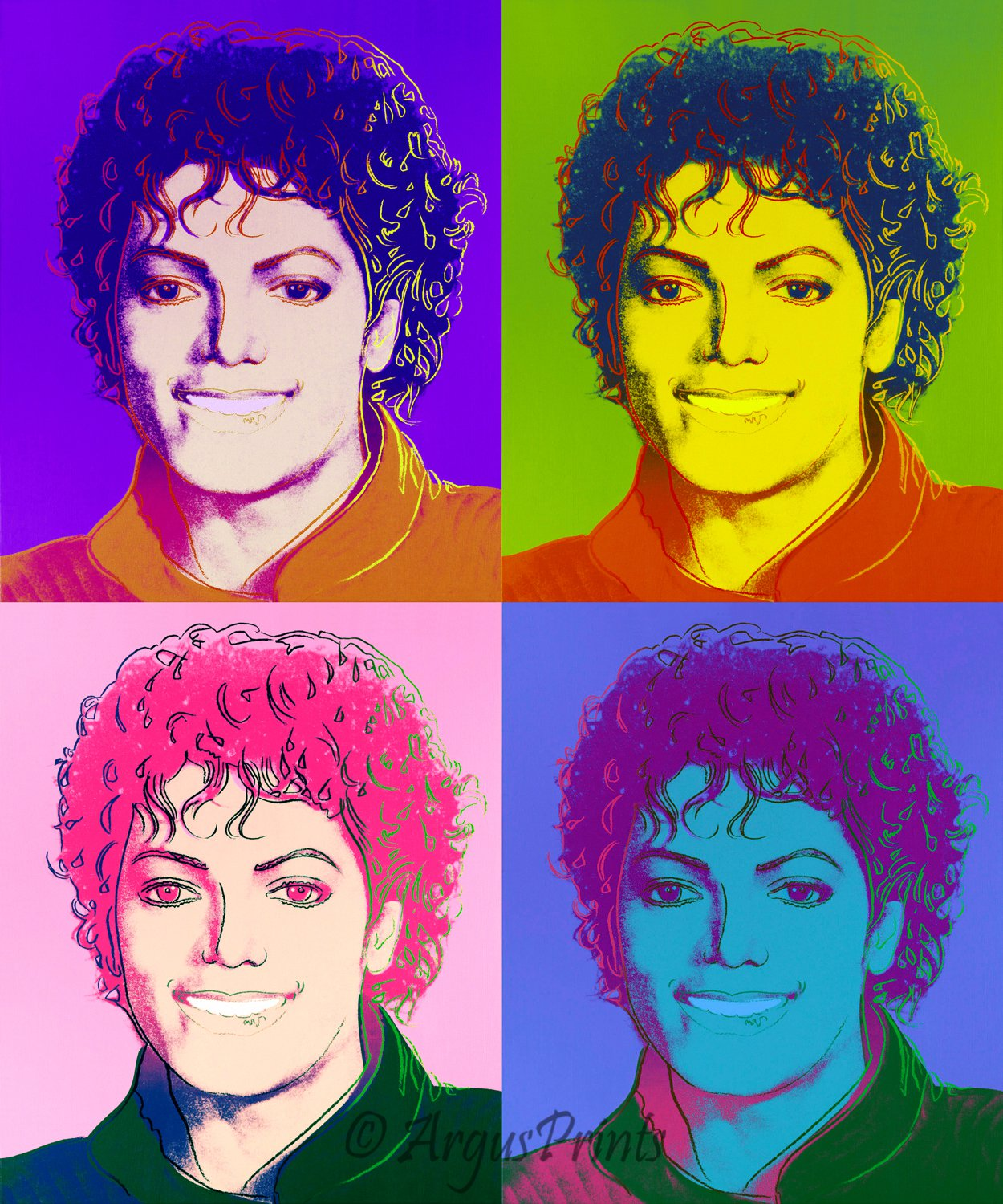 michael jackson 4 image portrait canvas pop art print inspired by andy warhol. Black Bedroom Furniture Sets. Home Design Ideas