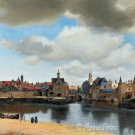 View of Delft 1660 cityscape Fine Art Canvas print by Vermeer