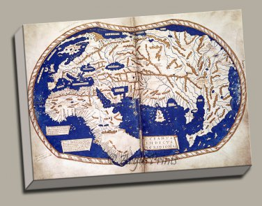 World Map 1489 Manuscript Gallery Wrap Print by Martellus