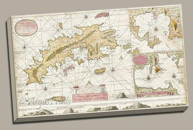 St. Thomas St. John Danish Virgin Islands 1719 map Canvas Gallery Wrap van Keulen