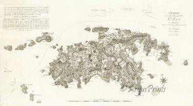St. John Danish U.S. Virgin Islands 1800 plantation map by Oxholm
