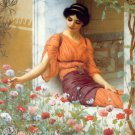 Summer Flowers 1903 woman Victorian canvas art print by Godward