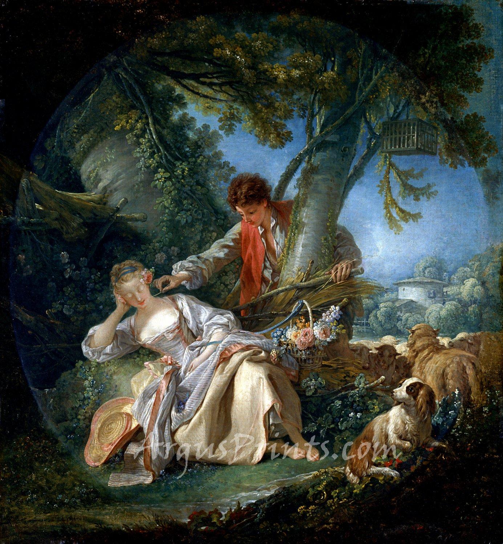 The Interrupted Sleep 1750 canvas art print by Francois Boucher