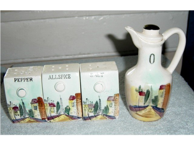 Set of Asian Salt Pepper Allspice and Oil Shakers Containers #300112