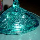 Turquoise Blue Sunflower Pattern Triangular Shaped Glass Lidded Bowl #300008